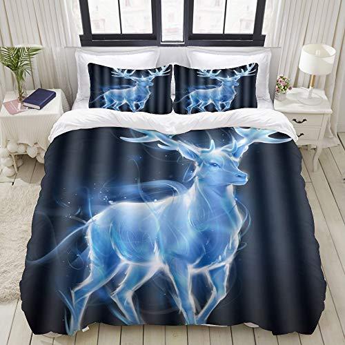 Dodunstyle Duvet Cover,Patronus Silver Stag Elk,Bedding Set Ultra Comfy Lightweight Microfiber Sets
