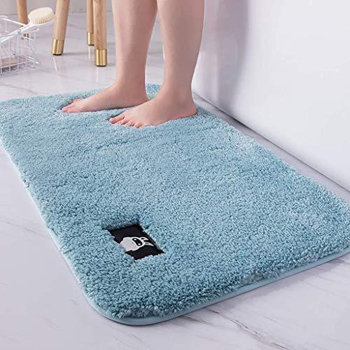 Estera de baño shaggy sin deslizamiento, microfibra absorbente de agua alfombra de baño de color sólido de color sólido alfombras de baño lavable alfombrillas lavables-gris 80x120cm (31x47 pulgadas) D