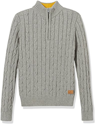 Kid Nation Boys 1/4 Zip Sweater Casual Cable Knit Long Sleeve Pullover Sweatshirt for Boys Gray 8-10Y