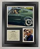 Legends Never Die Bullitt Movie- Steve McQueen Collectible | Framed Photo Collage Wall Art Decor - 12'x15'