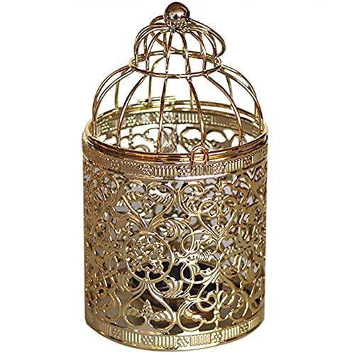 LCISCOUP Candelero Hollow Colgando pájaro Jaula Vela candelabro Linterna Hierro Vintage Boda casero decoración Fiesta decoración (Color : 02 Gold)
