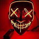 Kaliwa LED Máscaras Halloween, Halloween Mascaras, Craneo Esqueleto Mascaras, para Navidad /Halloween /Cosplay /Grimace Festival /Fiesta Show /Mascarada, Alimentado por batería (no Incluido) (Rojo)