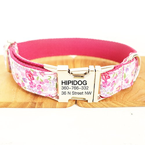 Personalized Dog Collar, Custom Engraving with Pet Name and Phone Number, Adjustable Tough Nylon ID Collar, Matching Leash Available Separately (Peach Purple Pink)