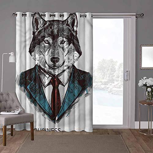 YUAZHOQI Cortina térmica para puerta corredera, extravagante, hombre de negocios, lobo en traje, ancho 52 x largo 84 pulgadas, privacidad vertical persiana para sala de estar (1 panel)