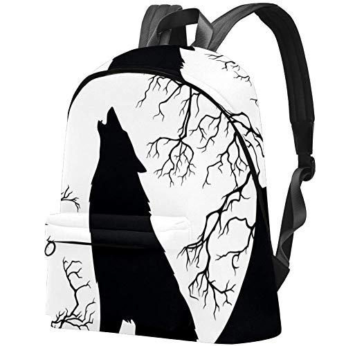 Rucksack, für Damen, Mädchen, mit Fußabdrücken, wasserabweisend, Diebstahlschutz, für Laptops, Rucksäcke schwarz Wolf heling bei der mond 17.3x13.7x5.5 in