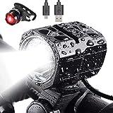 Nestling® Juego de Luces LED para Bicicleta Recargable por USB, Faro de Bicicleta de 1200 lúmenes Cree XM-L2 Linterna de Mano con luz Delantera LED Impermeable para Bicicleta