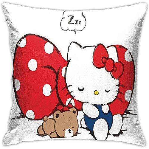 Fundas de cojín Hello Kitty Big Red Bow-Square Shape Funda de cojín Decorativa para sofá Sofá Juego de Almohadas
