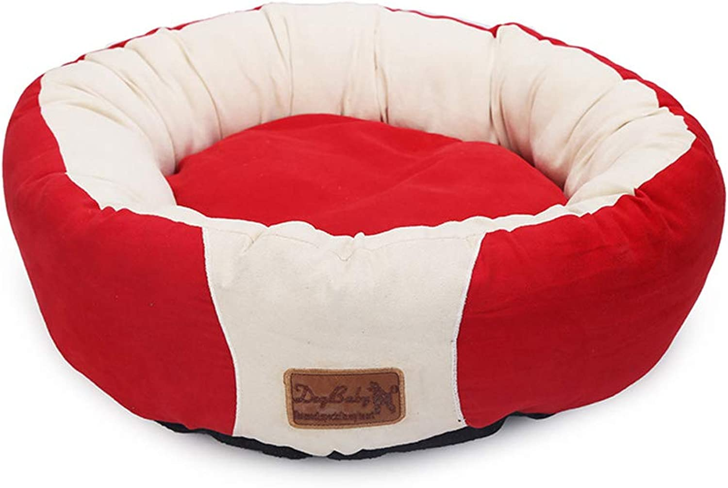BYCWS Round Cat and Dog Cushion Bed, SelfWarming and Cozy Comfortable Cat and Dog House Bed  HighWalls for Improved Sleep