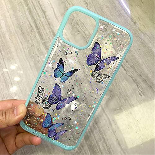 Funda para teléfono para iPhone 12 11 Pro MAX X XR XS 6S 7 8 Plus 12 Mini Luxury Glitter Bling Star Butterfly Color Caramelo Funda Blanda Transparente para iPhone 7 8 Azul