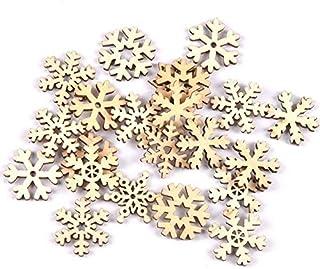 Romote mélanger 50pcs Motif Flocon de Neige de Noël en Bois Naturel pour l'embellissement Scrapbooking Carft Décoration Br...