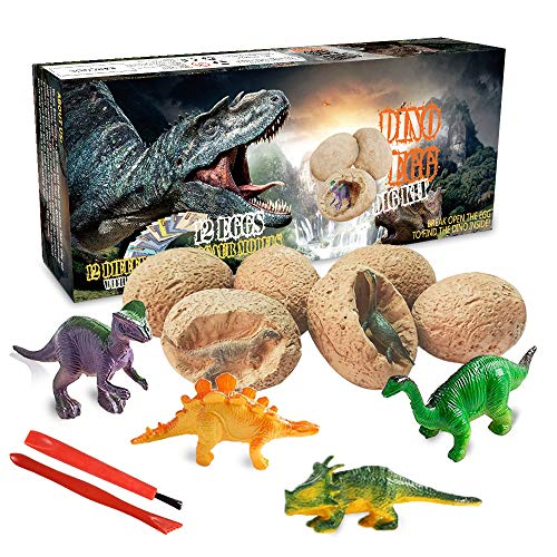 Dinosaur Toys, Dino Egg Dig Kit Kids Gifts - Break Open 12 Unique Dinosaur Eggs and Discover 12 Cute Dinosaurs - Easter Archaeology Science STEM Toys Technology Gifts for Boys Girls Toys