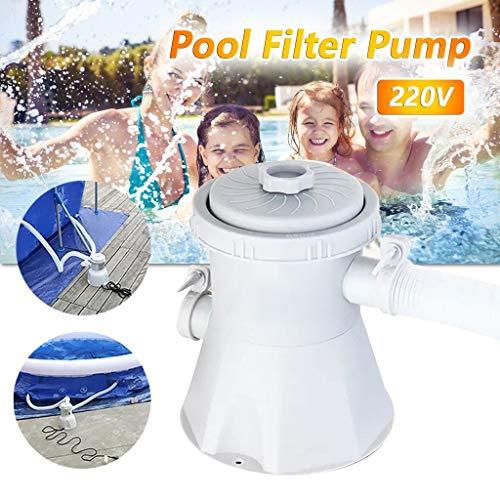 Ashui Poolpumpe Schwimmbad Filteranlage Schwimmbad Filterpumpe Pool Pumpe inkl Schläuche und Kartuschen Filter-Patrone, Elektrische Schwimmbad Filterpumpe, Klar Filter Wasserpumpe