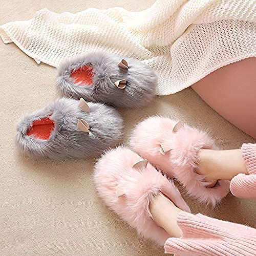 MMYY Niedliche Meerschweinchen-Form, Hausschuhe, Plüsch-Hausschuhe, für den Innenbereich, für Paare, warm, flauschig, Hausschuhe, 40-41_creme-weiß