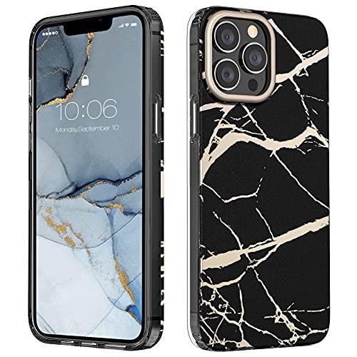 MATEPROX Custodia Marmo Compatibile con iPhone 13 PRO Max Cover Elegante Brillantini Marmo Posteriore Rigida Protettiva Covers per iPhone 13 PRO Max 6,7'' 2021-Nero Opaco
