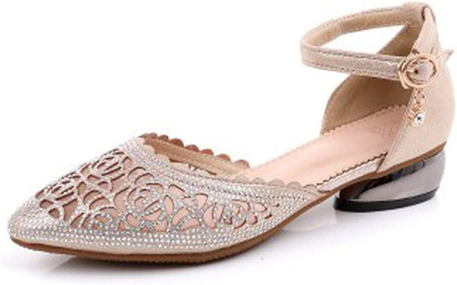 PREtty-2 Summer shoes Genuine Leather Crystal Sandals Pointed Toe Mesh Party Thick Low Heels Sandalias