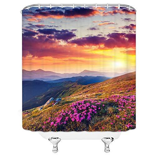 qianliansheji Scenic Shower Curtain, Sunset Mountain Flower Nature Theme Shower Curtain Set Does Not Fade Waterproof Liner Shower Curtain Lining Red Cloud Sky Far 70X70 Waterproof