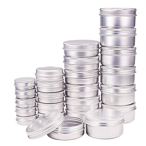 BENECREAT 40 Pack 15/30/60/80ml Lattina di Alluminio Scatola Rotonda in Alluminio con Tappo a Vite Contenitori in Metallo - Ideale per Conservare Spezie, Dolci, tè o Pillole (Platino)