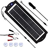 MEGSUN 12 Volt 3W Solar Car Battery Maintainer Trickle Chargers Kits, Portable Waterproof Solar Panel Charging Kit for Car, Boats,...