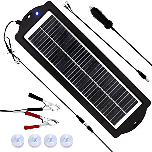 MEGSUN 12 Volt 3W Solar Car Battery Maintainer Trickle Chargers Kits, Portable Waterproof Solar Panel Charging Kit for Car, Boats, RV, Trailer, Camper, Automotive, Motorcycle, Snowmobile. (3W)