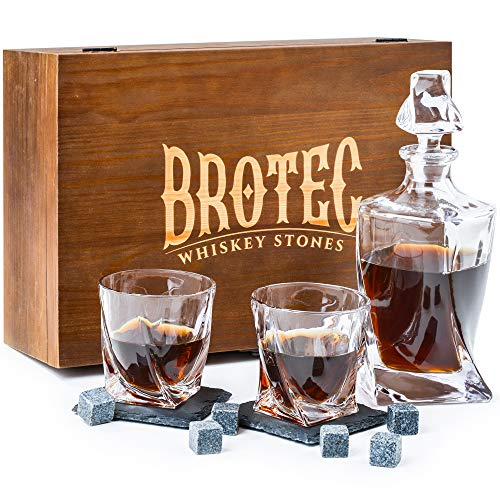 Whiskey Decanter Set with 2 Low-Ball Crystal Glasses, Chilling Whiskey Stones, 2 Stone Drink Coasters and Wood Storage Gift Box, Cocktail Glass Bourbon Old Fashioned Tumblers, Bar Accessories for Men