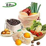 Ezlife Bolsas Reutilizables Compra, Bolsas Reutilizables Fruta de Algodon Ecológicas Lavable y Transpirable Bolsa de Malla para Fruta Verduras...