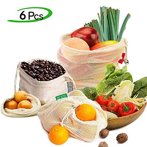 EzLife Borse per Frutta Riutilizzabili Sacchetti di Frutta e Verdura Cotone Organico Lavabile Traspirante Sacchetti Riutilizzabili in Rete Ecologici per Frutta, Verdura e Giocattoli- 6 Pezzi