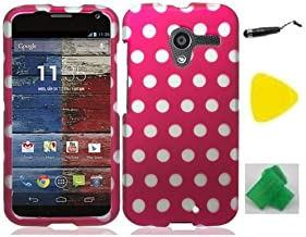 Pink Polka Dot Phone Case Cover Cell Phone Accessory + Yellow Pry Tool + Stylus Pen + EXTREME Band for Motorola Moto X XT1058 (AT&T, US Cellular, Verizon, Sprint)