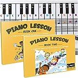 Tableau de notes de piano et clavier avec notes de couleur complètes, livre de leçons de musique et guide 1 et livre 2 pour enfants et débutants ; conçu et imprimé aux États-Unis.