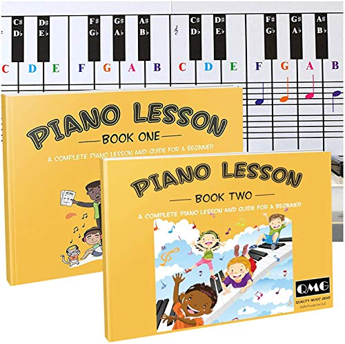 Piano and Keyboard Note Chart and Complete Color Note Piano Music Lesson and Guide Book 1 and Book 2 for Kids and Beginners; Designed and Printed in USA