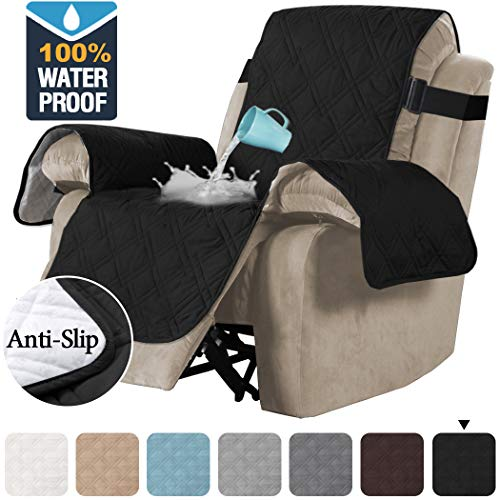 H.VERSAILTEX 100% Waterproof Quilted Recliner Chair Cover Recliner Cover Recliner Slipcover for Living Room, Secure with Elastic Strap and Non Slip Puppy Paw Silicone Backing (Oversized, Black)