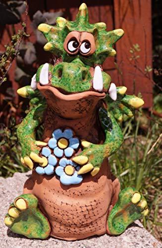 Rostalgie Keramik Drache Gismo mit Blüten 24x16cm Töpferfigur Gartenstecker Deko Garten