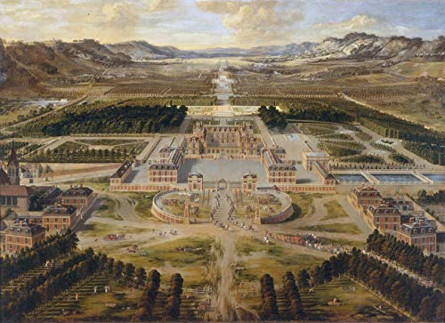 """Pierre Patel The Elder Birds Eye View of The Chateau and Gardens of Versailles 1668 Chateau de Versailles 30"""" x 22"""" Fine Art Giclee Canvas Print (Unframed) Reproduction"""