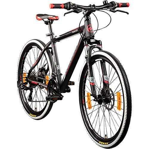 Galano 26 Zoll Toxic Mountainbike Hardtail MTB Jugendmountainbike Jugendfahrrad (schwarz/rot, 46 cm)