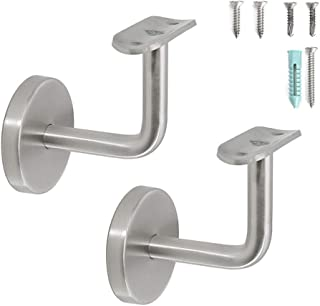 Stainless Steel Wall Mount Staircase Handrail Brackets w/Base Flange Cover for 1-1/2
