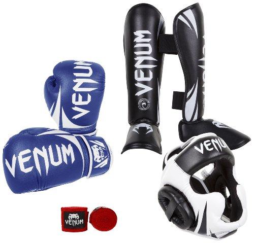 Venum Challenger 2.0 Standup Bundle, Blue Gloves, Black Shinguards, Black/White Headgear, Red Handwraps, 12-Ounces Gloves, Medium Shinguards, Headgear One Size, Handwraps 4M