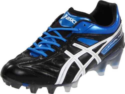 ASICS Men's Lethal Tigreor 4 IT Soccer Shoe,Black/White/Pacific Blue,13 M US