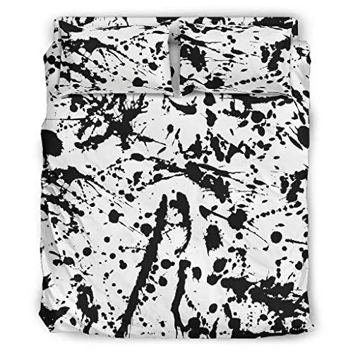 Lind88 Juego de 4 fundas de edredón y fundas de almohada, de fácil cuidado, color blanco, 203 x 230 cm