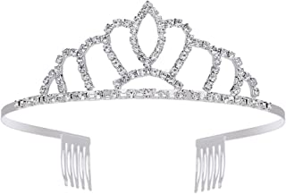Charm Crystal Royal Queen Crown Silver Plated Metal for Women Pageant