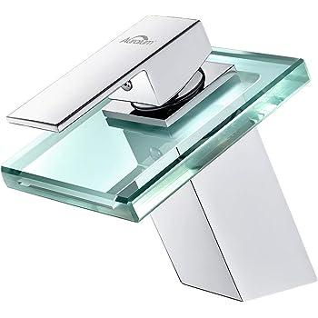 AuraLum Wasserhahn Waschtischarmatur Wasserfall Einhandmischer für Bad Badezimmer Waschbecken, Armatur Kupfer