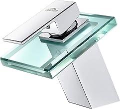 Auralum Waterval Wastafelkraan, Transparant Glas, Eengreeps Wastafelkranen, Chroom