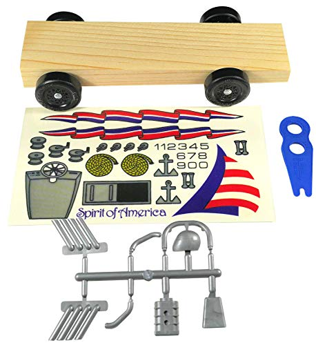 Pintwood Pro Basic Derby Car Kit with Official Wheels, Official axles and pre-Cut pre-drilled Block