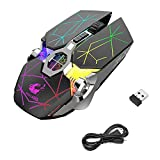 LINGSFIRE Wireless Mouse, Rechargeable Gaming Mouse, Silent Mouse Wireless with USB Receiver, 7 Buttons and Changeable Led Light Cool Wireless Mouse for Laptop