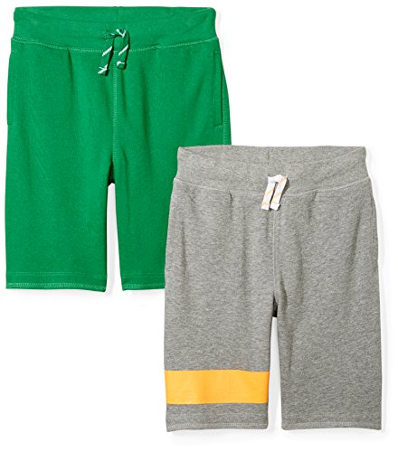 Spotted Zebra Boys' Kids French Terry Knit Shorts, 2-Pack Grey/Green, X-Small