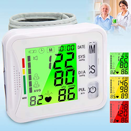 Copeaky Wrist Blood Pressure Monitor, Automatic Digital Bp Monitor Wrist with Large Screen, 2X99 Memories, Blood Pressure Cuff Machine Pulse Rate Monitor for 2 User Home Personal Use Adult