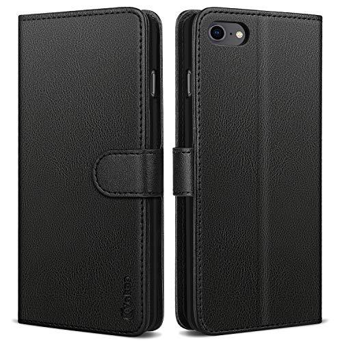 Vakoo iPhone SE 2020 Hülle, Premium Leder Brieftasche Handytasche Schutzhülle Tasche Handyhülle für Apple iPhone SE 2020/iPhone 7/iPhone 8 - Schwarz