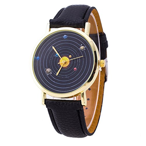 Vavna Top New Unisex Student Solar System Print Quartz Women's Leather Wrist Watch - Black Gold