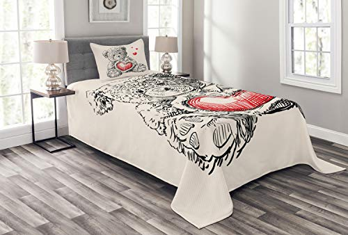ABAKUHAUS Gekritzel Tagesdecke Set, Detaillierte Teddybär, Set mit Kissenbezug Moderne Designs, für Einselbetten 170 x 220 cm, Holzkohle Orange Beige