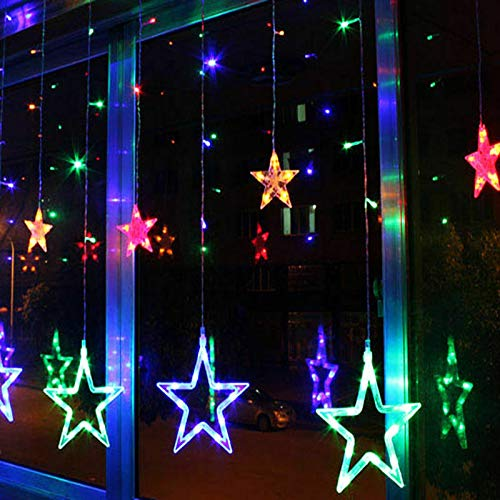 Yelite LED Curtain Lights,12 Stars 138 LED Curtain String Lights Memory Window Curtain Lights with 8 Flashing Modes Decoration for Christmas, Wedding, Party,Wall, Home Decorations (Color)