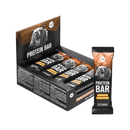 nu3 Barretta proteica 12x 50g - Barrette proteiche (50%) - Gusto cioccolato e burro di arachidi - A basso contenuto di zucchero e carboidrati -Senza olio di palma - Con collagene idrolizzato
