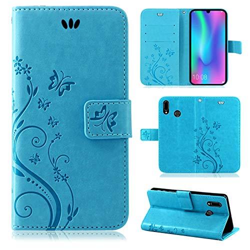 betterfon | Flower Hülle Handytasche Schutzhülle Blumen Klapptasche Handyhülle Handy Schale für Huawei P Smart 2019 / Honor 10 Lite Blau